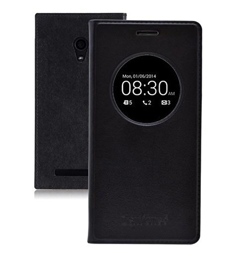 Microsonic View Slim Kapaklı Deri  Zenfone 5 Kılıf Akıllı Modlu Siyah Renkli